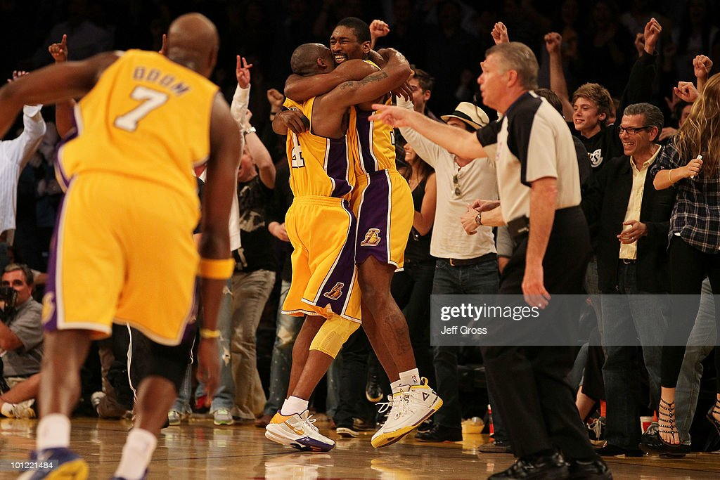 Ron Artest #37 and Kobe Bryant #24 of the Los Angeles Lakers celebrate Artest's game winning shot against the Phoenix Suns in the fourth quarter of Game Five of the Western Conference Finals during the 2010 NBA Playoffs at Staples Center on May 27, 2010 in Los Angeles, California.