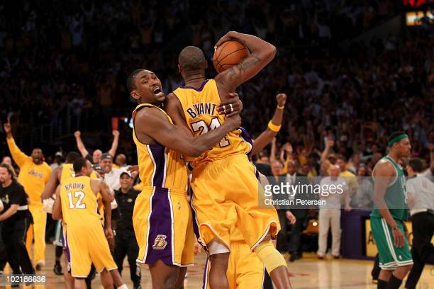 Ron Artest and Kobe Bryant of the Los Angeles Lakers celebrates as the Lakers defeated the Boston Celtics in Game Seven of the 2010 NBA Finals at...