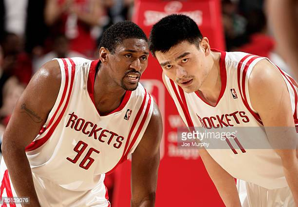 Ron Artest and Yao Ming of the Houston Rockets talk during a game against the Cleveland Cavaliers on February 26 2009 at the Toyota Center in Houston...