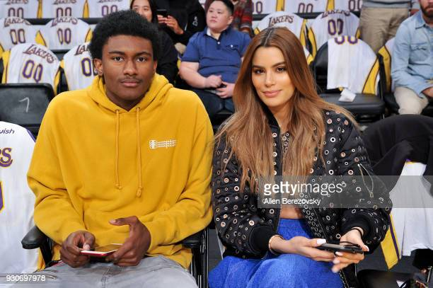Ron Artest III and Ariadna Gutierrez attend a basketball game between the Los Angeles Lakers and the Cleveland Cavaliers at Staples Center on March...