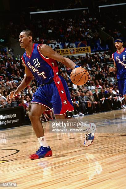Ron Artest of the East AllStars dribbles the ball against the West AllStars during the 2004 NBA AllStar Game at the Staples Center part of the 53rd...