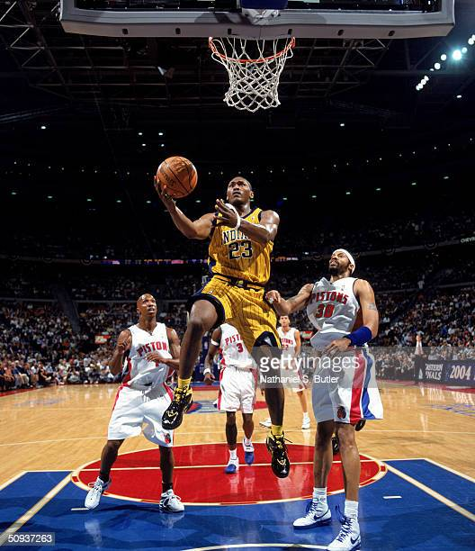 Ron Artest of the Indiana Pacers goes for a layup in Game six of the Eastern Conference Finals against the Detroit Pistons during the 2004 NBA...