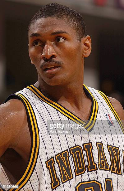 Ron Artest of the Indiana Pacers is on the court during the preseason game against the Minnesota Timberwolvess at Conseco Fieldhouse on October 19,...