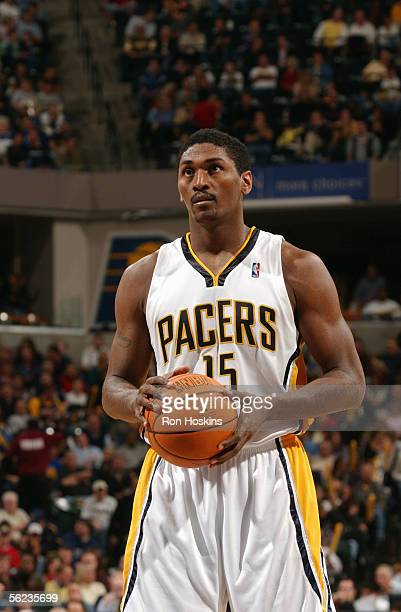 Ron Artest of the Indiana Pacers prepares to shoot a free throw during a game against the New Jersey Nets at Conseco Fieldhouse on November 11, 2005...