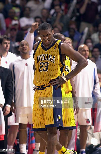 Ron Artest of the Indiana Pacers reacts after being called for a flagrant foul against the Detroit Pistons Richard Hamilton in Game six of the...