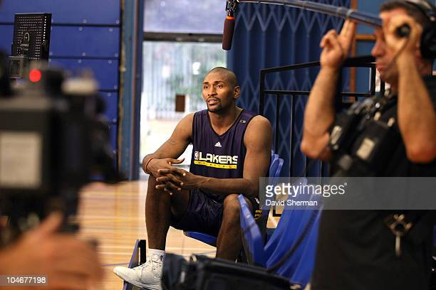 Ron Artest of the Los Angeles Lakers answers questions from the media following practice during 2010 NBA Europe Live on October 3 2010 at the Crystal...
