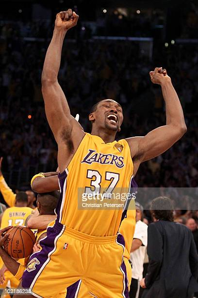 Ron Artest of the Los Angeles Lakers celebrates after the Lakers defeated the Boston Celtics in Game Seven of the 2010 NBA Finals at Staples Center...
