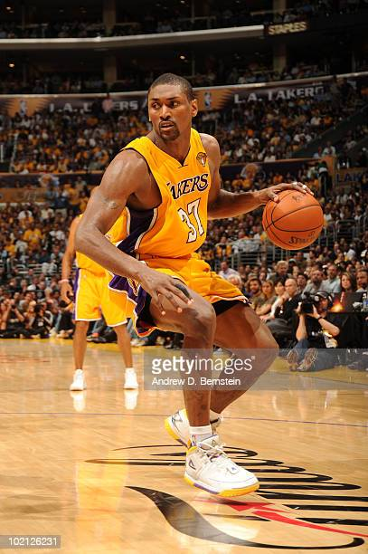 Ron Artest of the Los Angeles Lakers controls the ball against the Boston Celtics in Game Six of the 2010 NBA Finals on June 15, 2010 at Staples...