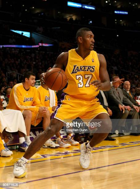 Ron Artest of the Los Angeles Lakers controls the ball against the Memphis Grizzlies on November 6, 2009 at Staples Center in Los Angeles,...