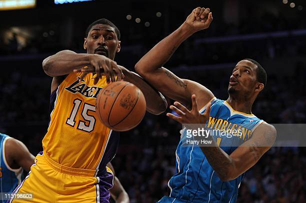 Ron Artest of the Los Angeles Lakers goes for the ball against Trevor Ariza of the New Orleans Hornets in the second quarter of Game Five of the...