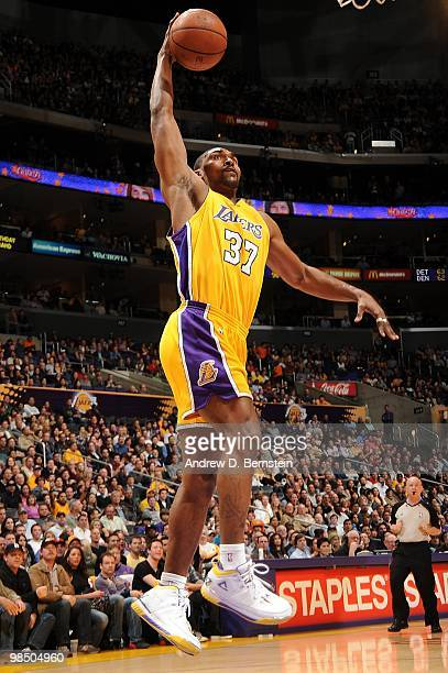 Ron Artest of the Los Angeles Lakers goes to the basket during the game against the Philadelphia 76ers on February 26, 2010 at Staples Center in Los...