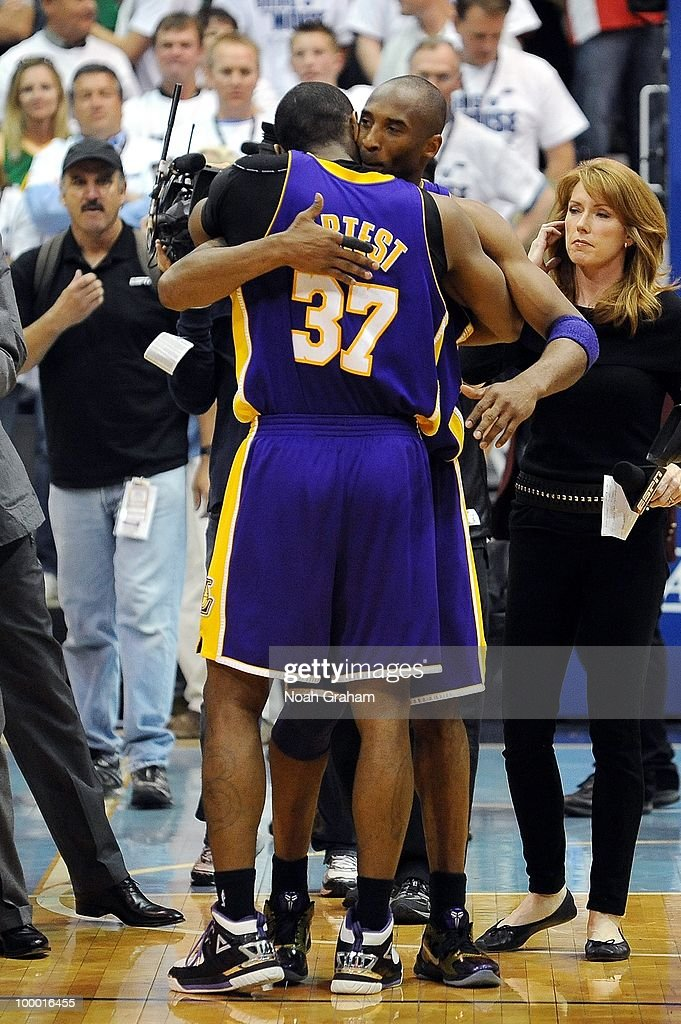 Ron Artest #37 of the Los Angeles Lakers hugs teammate Kobe Bryant after defeating the Utah Jazz 111-110 in Game Three of the Western Conference Semifinals during the 2010 NBA Playoffs at the EnergySolutions Arena on May 8, 2010 in Salt Lake City, Utah.