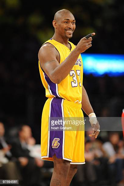 Ron Artest of the Los Angeles Lakers looks on before a game against the Toronto Raptors at Staples Center on March 9, 2010 in Los Angeles,...