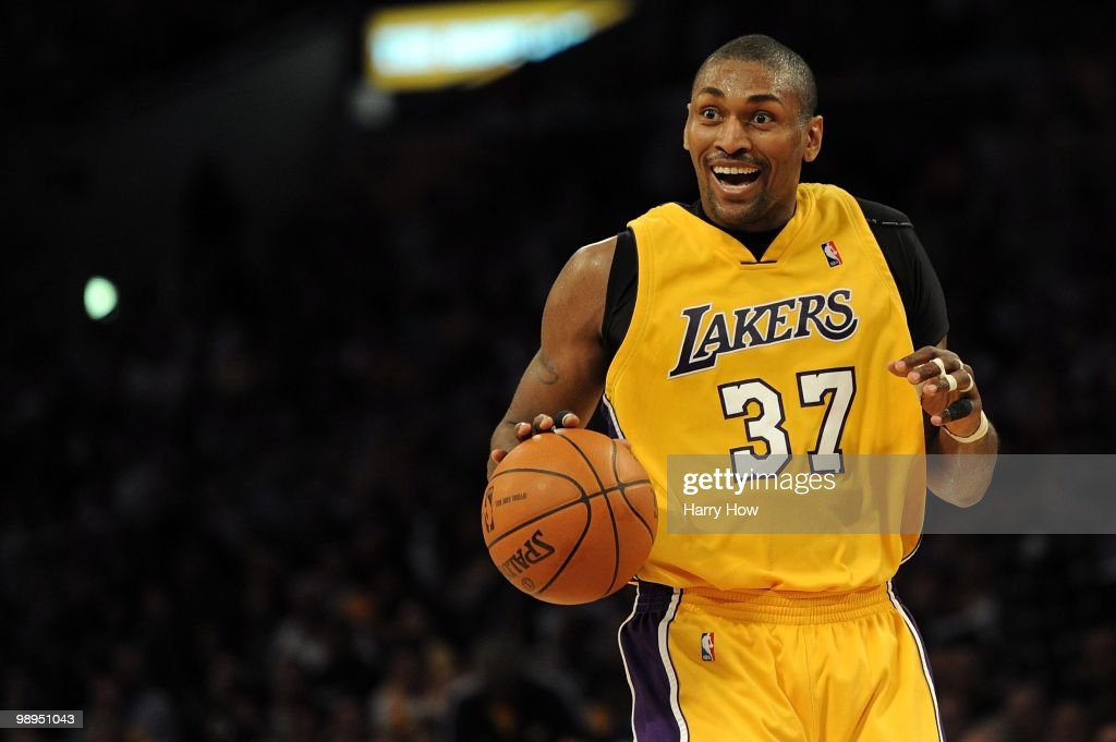Ron Artest #37 of the Los Angeles Lakers moves the ball against the Utah Jazz during Game Two of the Western Conference Semifinals of the 2010 NBA Playoffs at Staples Center on May 4, 2010 in Los Angeles, California.