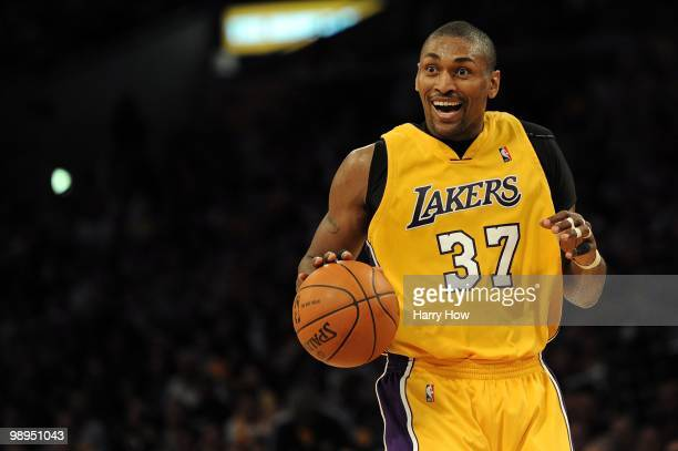 Ron Artest of the Los Angeles Lakers moves the ball against the Utah Jazz during Game Two of the Western Conference Semifinals of the 2010 NBA...