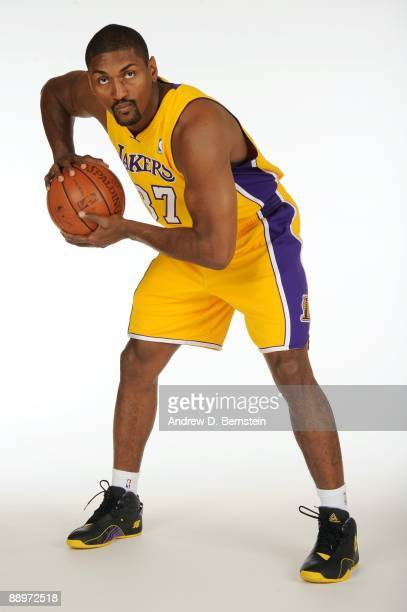 Ron Artest of the Los Angeles Lakers poses for a portrait after the press conference announcing his signing with the team on July 8 2009 at the...
