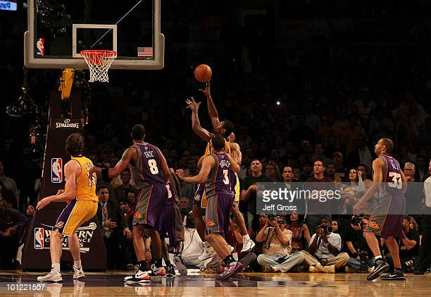Ron Artest of the Los Angeles Lakers shoots the game winning shot against the Phoenix Suns in the final moments of the fourth quarter of Game Five of...