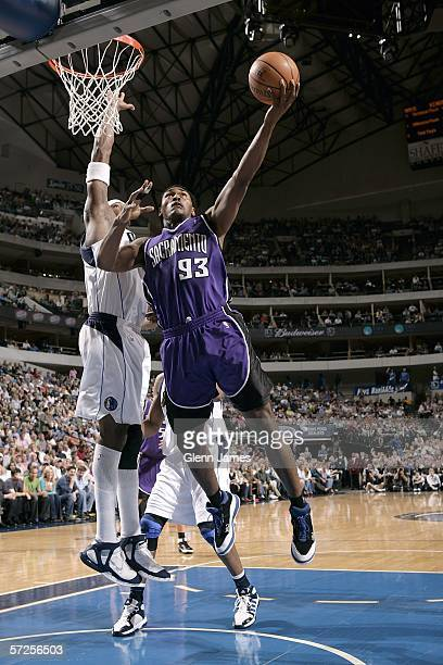 Ron Artest of the Sacramento Kings lays the ball up against the Dallas Mavericks on April 4 2006 at American Airlines Center in Dallas Texas NOTE TO...