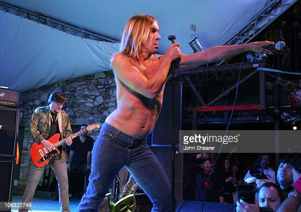 Ron Asheton and Iggy Pop of The Stooges during 21st Annual SXSW Film and Music Festival The Stooges at Stubbs at Stubb's in Austin Texas United States
