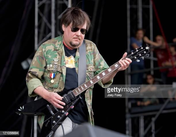 Ron Asheton of Iggy and the Stooges performs during the 2008 Virgin Mobile festival at the Pimlico Race Course on August 10 2008 in Baltimore Maryland