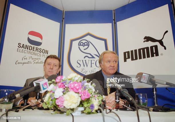 Ron Atkinson with chairman Dave Richards, is unveiled at a press conference at Hillsbrough as manager of Sheffield Wednesday for a second stint after...
