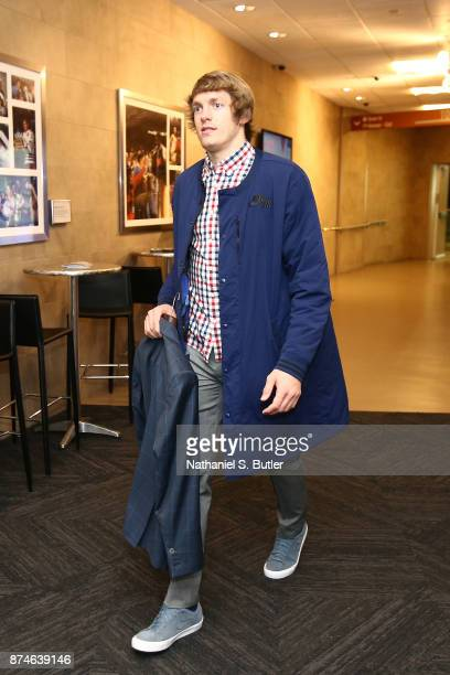 Ron Baker of the New York Knicks arrives at Madison Square Garden before the game against the Cleveland Cavaliers in New York City New York on...