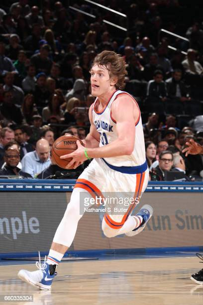 Ron Baker of the New York Knicks drives to the basket against the Miami Heat on March 29 2017 at Madison Square Garden in New York City New York NOTE...