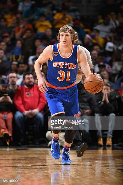 Ron Baker of the New York Knicks handles the ball against the Denver Nuggets on December 17 2016 at the Pepsi Center in Denver Colorado NOTE TO USER...
