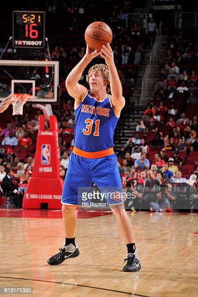 Ron Baker of the New York Knicks handles the ball against the Houston Rockets during the preseason game on October 4 2016 at the Toyota Center in...