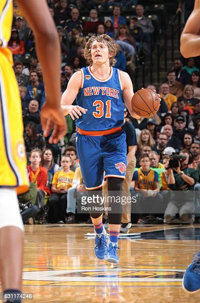 Ron Baker of the New York Knicks handles the ball against the Indiana Pacers on January 7 2017 at Bankers Life Fieldhouse in Indianapolis Indiana...