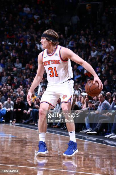 Ron Baker of the New York Knicks handles the ball against the Brooklyn Nets on January 15 2018 at Barclays Center in Brooklyn New York NOTE TO USER...