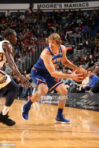 Ron Baker of the New York Knicks handles the ball against the New Orleans Pelicans on December 30 2017 at the Smoothie King Center in New Orleans...