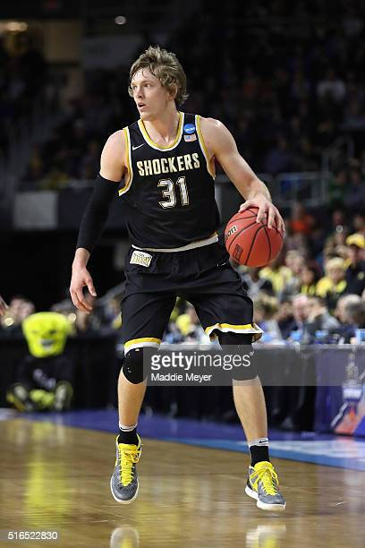 Ron Baker of the Wichita State Shockers handles the ball in the first half against the Miami Hurricanes during the second round of the 2016 NCAA...