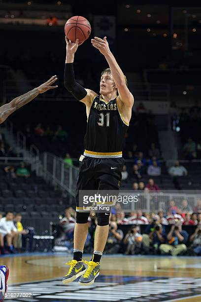 Ron Baker of the Wichita State Shockers puts up a shot against the Arizona Wildcats during the first round of the 2016 NCAA Men's Basketball...