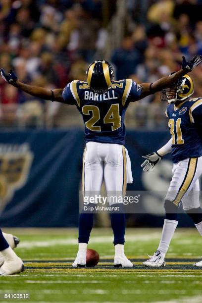Ron Bartell of the St Louis Rams celebrates an interception against the San Francisco 49ers at the Edward Jones Dome on December 21 2008 in St Louis...