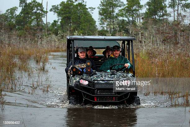 Ron Bergeron takes visitors on a tour of the Big Cypress Swamp in Florida on November 10 where he has a nearby camp