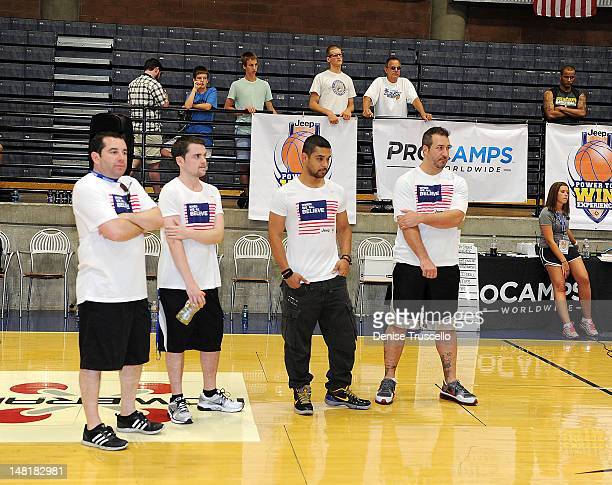Ron Berkowitz Robert Iler Wilmer Valderrama and Joey Fatone during the Jalen Rose Leadership Academy clinic at Impact Basketball on July 11 2012 in...