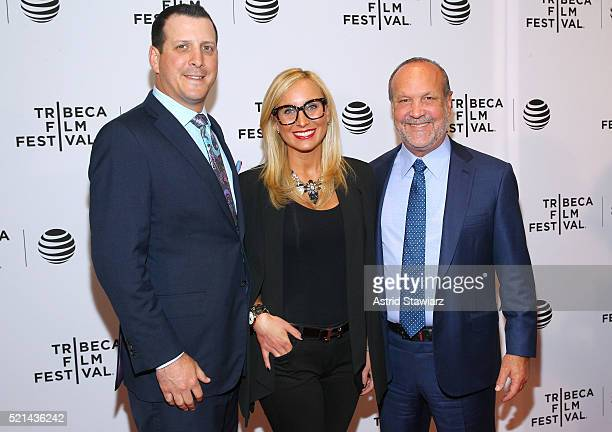 Ron Book Lauren Brook and Blair Burnes attend Untouchable Premiere 2016 Tribeca Film Festival at Chelsea Bow Tie Cinemas on April 15 2016 in New York...