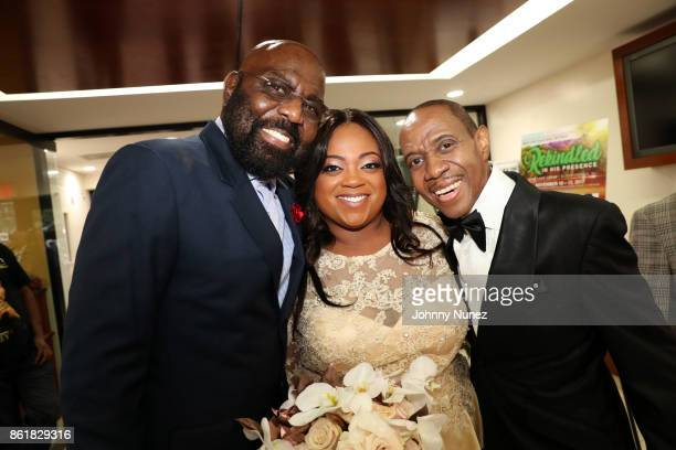 Ron Brown, Ashley Sharpton, and Freddie Jackson attend Dominique Sharpton And Dr. Marcus Bright's wedding ceremony on October 15, 2017 in New York...