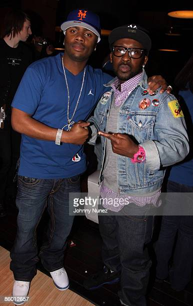 Ron Browz and O'Neal McKnight attend the Brand Jordan Akon bowling event at Lucky Strike on April 16 2009 in New York City