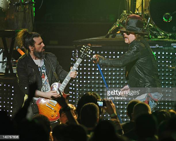 """Ron """"Bumblefoot"""" Thal and Axl Rose of Guns N' Roses perform at Fillmore Miami Beach on March 5, 2012 in Miami Beach, Florida."""