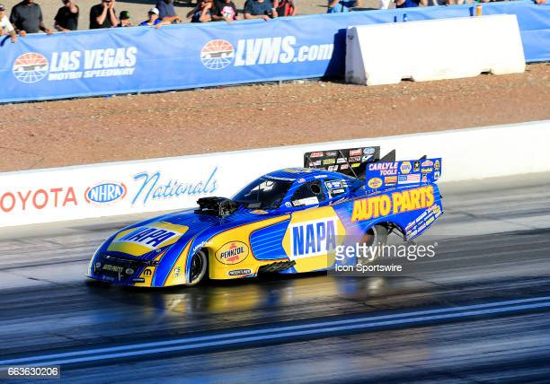 Ron Capps Don Schumacher Racing Dodge Charger NHRA Funny Car races down the track during the NHRA DENSO Spark Plugs NHRA Nationals on April 01 2017...