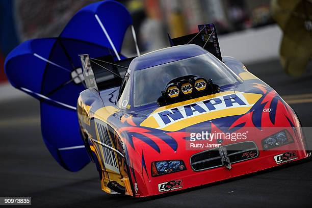 Ron Capps driver of the NAPA funny car drives during qualifying for the NHRA Carolinas Nationals on September 19 2009 at Zmax Dragway in Concord...