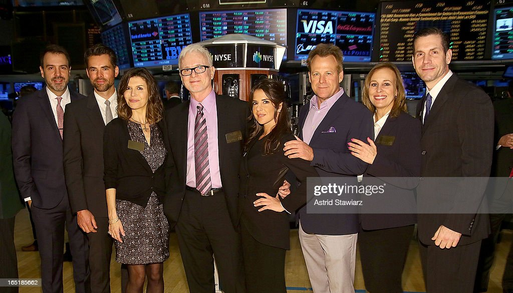 Ron Carlivati, Jason Thompson, Finola Hughes, Tony Geary, Kelly Monaco, Kin Shriner, Genie Francis and Frank Valentini of ABC's soap opera General Hospital ring the opening bell at the New York Stock Exchange on April 1, 2013 in New York City.