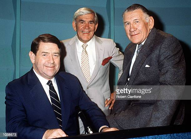 Ron Casey Lou Richards and Jack Dyer members of the Chanel 7 TV show 'World of Sport' during a photo shoot in Melbourne Australia Mandatory Credit...