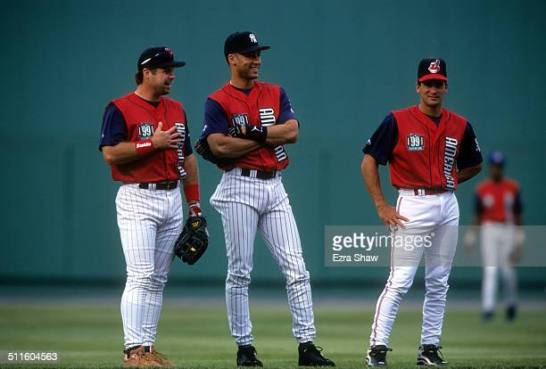 Ron Coomer of the Minnesota Twins Derek Jeter of the New York Yankees and Omar Vizquel of the Cleveland Indians take infield practice for the...