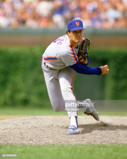 Ron Darling of the New York Mets pitches during an MLB game versus the Chicago Cubs at Wrigley Field in Chicago Illinois during the 1986 season