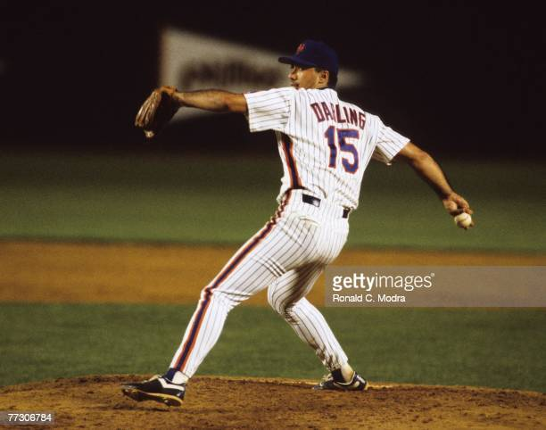 Ron Darling of the New York Mets pitching during a MLB game against the Montreal Expos at Shea Stadium on September 22 1989 in Flushing New York