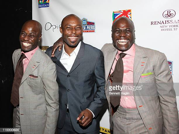 Ron Delice Jimmy JeanLouis and Rony Delice attend the Hollywood United Football Club's Setanta Cup exhibition game after party at Opia Lounge on...