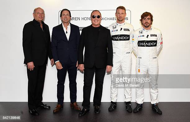 Ron Dennis John Idol Michael Kors Jenson Button and Fernando Alonso attend Michael Kors and McLarenHonda announcement on June 22 2016 in London...